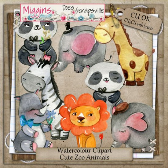CU Hand Drawn Watercolour Zoo Animals clipart - Click Image to Close