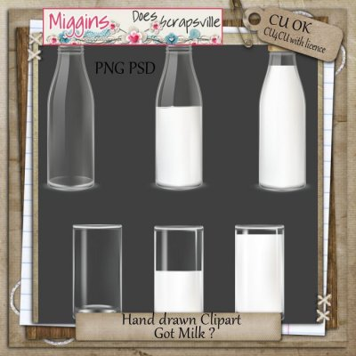 CU Hand Drawn Clear Glass Clipart - Milk