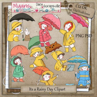 CU Hand drawn Its a Rainy Day clipart