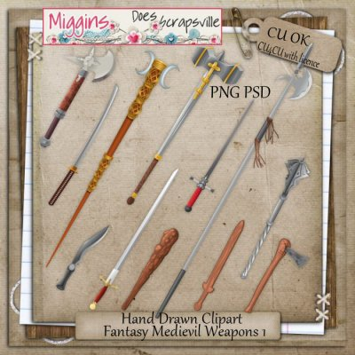 CU Hand Drawn Fantasy Medievil Weapons Clipart