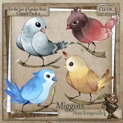 CU Hand Drawn For the love of Garden Birds Clipart 2