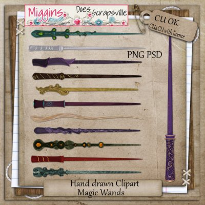 CU Hand Drawn Magic Wands Clipart