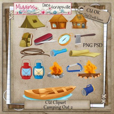 CU Hand Drawn watercolour Camping clipart 2