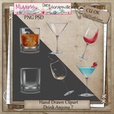 CU Hand Drawn Clear Glass Clipart - Drinks