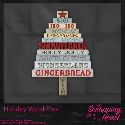Holiday Word Tree Template