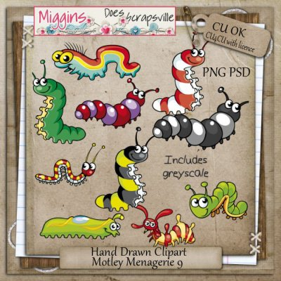 CU Hand Drawn Motley Menagerie Clipart 9