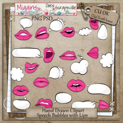 CU Hand Drawn Speechbubbles with lips Clipart