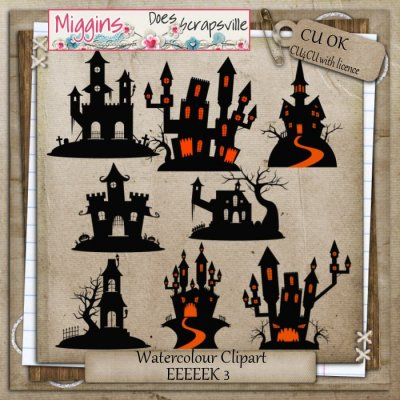 CU Hand Drawn Haunted Houses Clipart