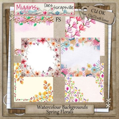 CU Watercolour Spring Floral Backgrounds