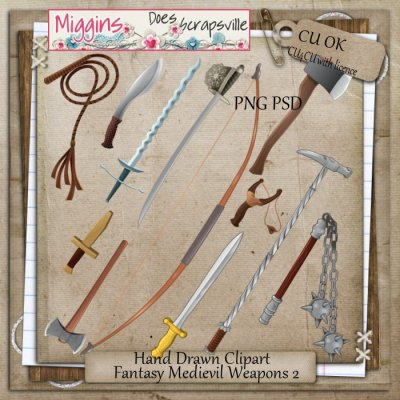 CU Hand Drawn Fantasy Medievil Weapons Clipart 2