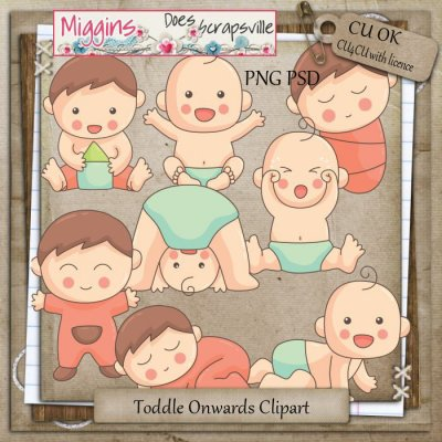 CU Hand Drawn Toddle On Clipart