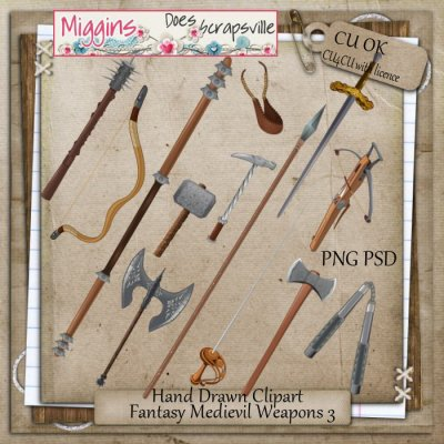 CU Hand Drawn Fantasy Medievil Weapons Clipart 3