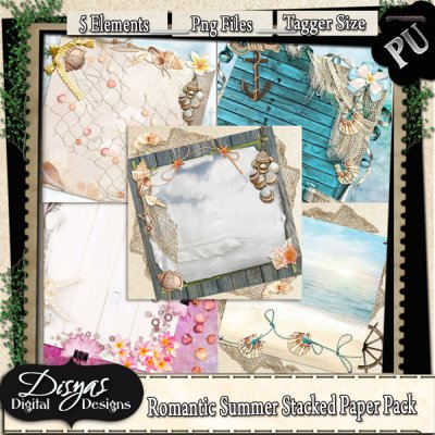 ROMANTIC STACKED PAPER PACK TAGGER SIZE