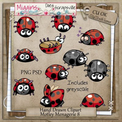 CU Hand Drawn Motley Menagerie Clipart 8