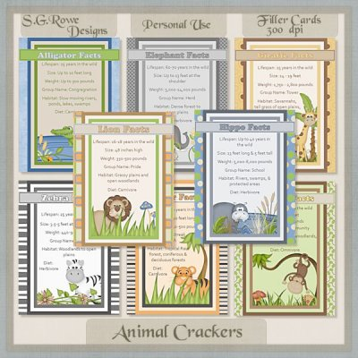 Animal Crackers Filler Cards