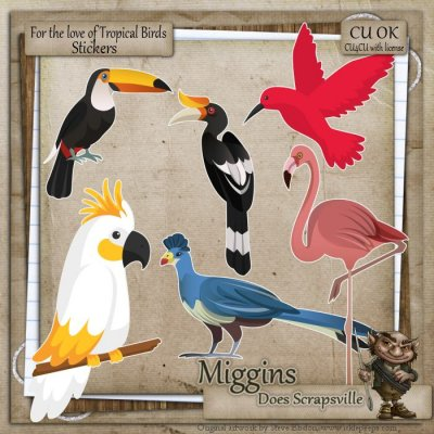 CU Hand Drawn - For the love of Exotic Birds Clipart 5