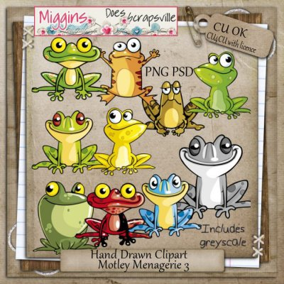 CU Hand Drawn Motley Menagerie Clipart 3