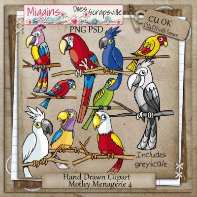 CU Hand Drawn Motley Menagerie Clipart 4