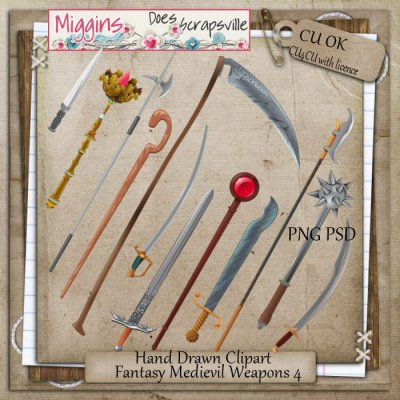 CU Hand Drawn Fantasy Medievil Weapons Clipart 4