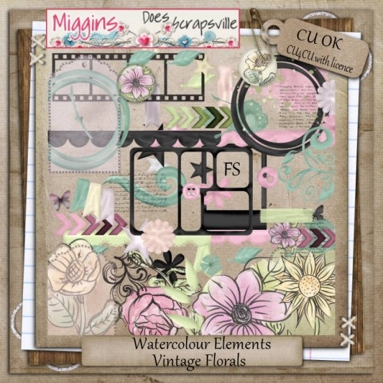 CU Hand Drawn Vintage Florals Watercolour Elements - Click Image to Close