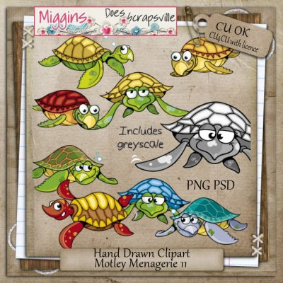CU Hand Drawn Motley Menagerie Clipart 11