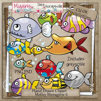 CU Hand Drawn Motley Menagerie Clipart 6