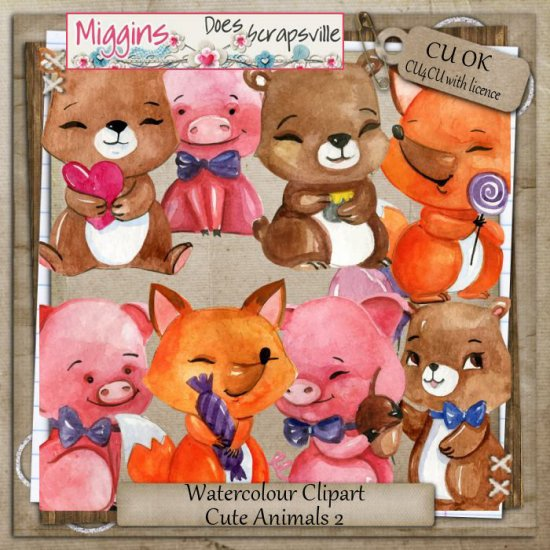 CU Hand Drawn Watercolour Cute Animals clipart 2 - Click Image to Close