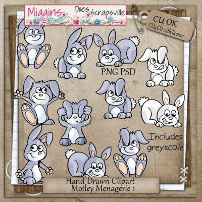 CU Hand Drawn Motley Menagerie Clipart 1