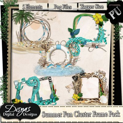 SUMMER FUN CLUSTER FRAME PACK TAGGER SIZE