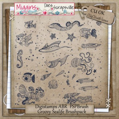 CU Hand Drawn Groovy Sealife Brush Pack