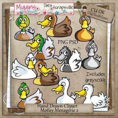 CU Hand Drawn Motley Menagerie Clipart 2