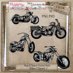 CU Vector style Biker Clipart Pack 7