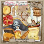 CU Hand Drawn watercolour Shiver me Timbers Clipart