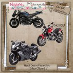 CU Vector style Biker Clipart Pack 5