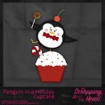 Penguin In A Holiday Cupcake Template