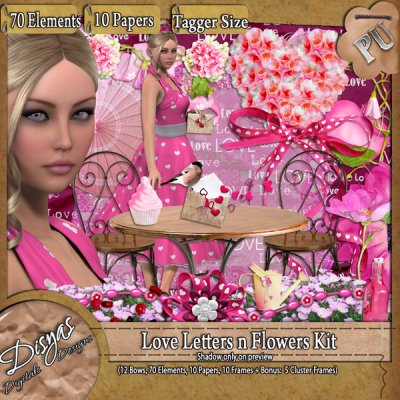 LOVE LETTERS AND FLOWERS SCRAPKIT TS