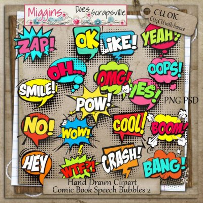 CU Hand Drawn Comic Speechbubbles Clipart 2