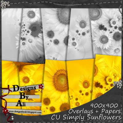 CU Simply Sunflowers Overlays & Papers TS